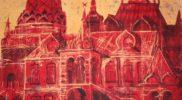«Измайловский кремль «(горячий батик, вытравка по красному паплину, кракелюр) 60х100