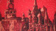 «Красная Москва «(горячий батик, вытравка по красному паплину) 60х100