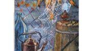 Натюрморт с рыбой  (горячий батик) 100х60